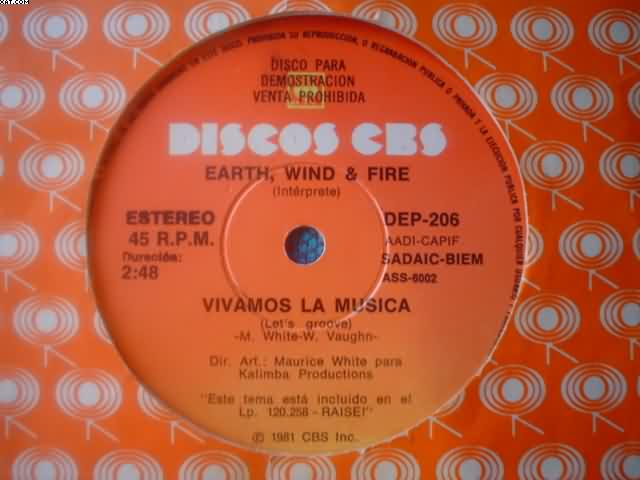 Earth Wind And Fire Vivamos La Musica-Vivamos La 7''